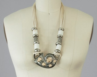 1980s Vintage White Leather and Silver Statement Necklace Signed Wilma Spagli