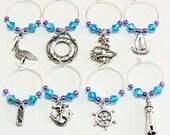 Nautical Wine Charms- 8 Sailing Wine Glass Tags, Blue & Purple Beads, Sailing Wine Charms, Destination Wedding Decor, Beach Wine Charms