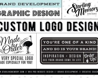 MADE to ORDER Custom Logo Design Package //  Includes 1 Additional Logo Version and 1 Double-Sided Business Card Design