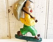 Black Americana Chalkware Wall Hanging - Pot Holder, Key or Apron Hook - Vintage 1940s - Boy with Umbrella