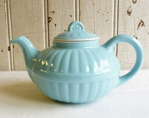 Vintage Hall China Murphy Peel Teapot - Victorian Series 1940s - Light Blue
