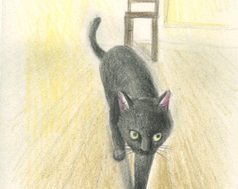 Cat original drawing - P004February2016