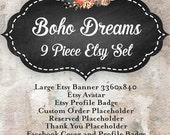 New Etsy Shop Banner Set Boho Watercolor Etsy Shop Set Facebook and Business Card Design Business Branding Set - Bespoke Dreams