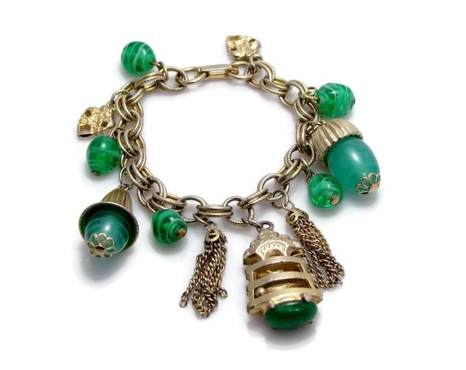 Vintage Chinese Peking Glass Charm Bracelet,