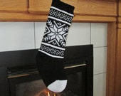 READY TO SHIP Black and White Knit Christmas Stocking