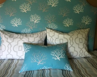 lumbar  Pillow Cover 13x21 with insert 13x22 included , Decorative Accent Pillow cover, White,turquoise, gray, ready to ship