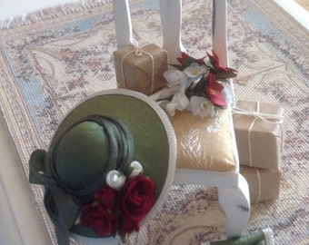 Delightful 1/12th scale handmade dollhouse miniature vignette dressed chair, A Winters Day