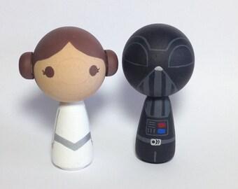 Mini Kokeshi Kawaii Princesss & Darth Vader(R) Wood Doll Cake Topper