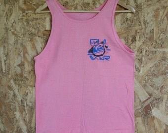 HALF OFF Vintage 1980s Mens Pink Quicksilver Surf Tank Top Sleeveless S (i)