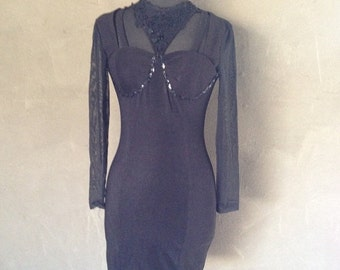 70% OFF Vintage 1990s Black Mini Cut Out Cocktail Dress XS/S (e)