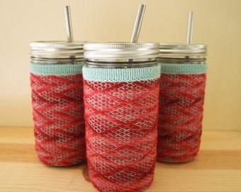 Tumbler Cozy Mason Jar Cup Drinking Glass and Wool Cozy with Stainless Steel Straw - Strawberry Mint