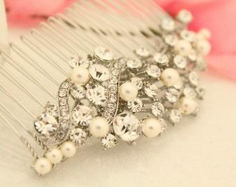 Swarovski pearl bridal hair comb,Wedding hair accessories,Wedding hair jewelry,Wedding head piece,Bridal hair comb,Wedding hair piece,Bridal