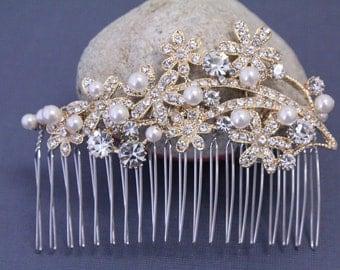 Bridal hair accessories Pearl hair comb gold Wedding hair comb pearl Bridal hair comb gold Wedding comb Bridal hair piece Wedding headpiece