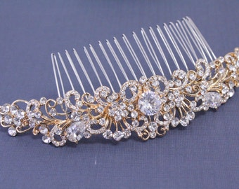 Wedding hair comb gold Wedding hair accessories Bridal hair comb Wedding head piece Gold Bridal hair piece Wedding accessories Bridal comb