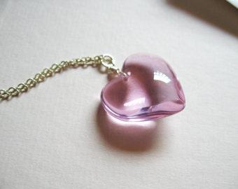 Frozen heart - Light pink glass heart necklace