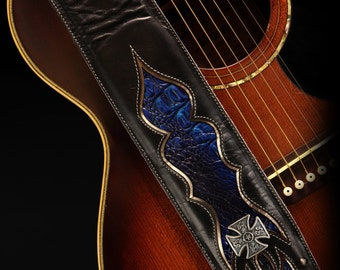 Leather Guitar Strap, Custom Guitar Strap : Monarch Twilight Guitar Strap