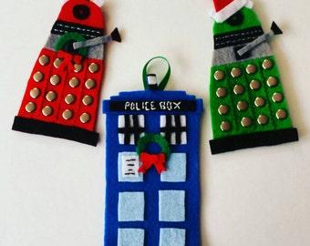 Doctor Who Inspired Felt Tardis or Dalek Christmas Holiday Ornament