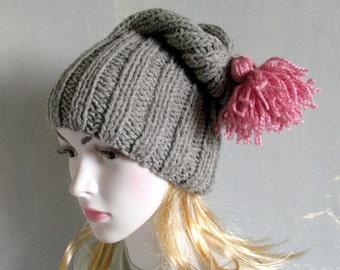 Chunky knit beanie, wool hat Chunky knit hat, COZY WOODS HAT, pom pom knit hat, Knit winter hat, hand knit beanie hat Slouchy Hat Grey Hat