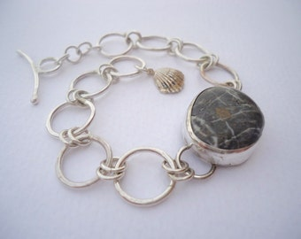 Beach Stone Silver Bracelet, Poros Collection