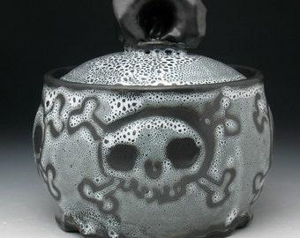 Skull Jar, Skull & Crossbones Storage Jar, Pirate Sugar Bowl