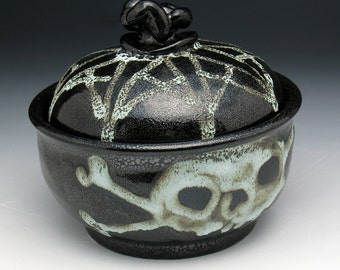 Skull Sugar Bowl, Skull & Crossbones Sugar Bowl, Skull Jar