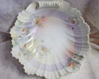 "Antique ROYAL RUDOLSTADT PRUSSIA 10"" Clam Shell Bowl with white Roses"