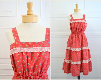 1970s Red Floral Sun Dress