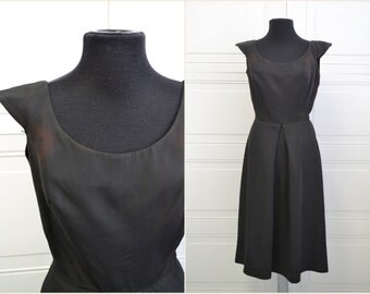 1950s Junior Accent Black Dress