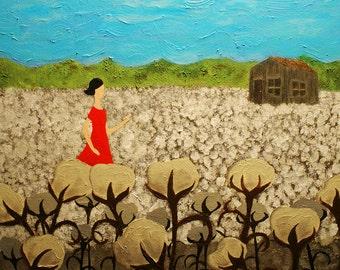 Print: Southern Memories - Louisiana Cotton Field Folk Art