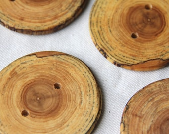 3 LARGE spalted elm buttons - 2.25-2.5""