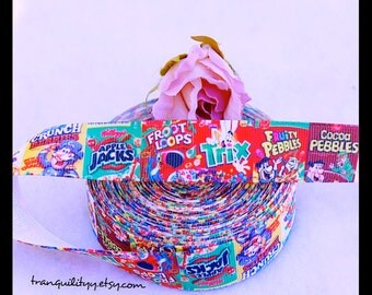 """Cereal Ribbon , 7/8"""" Grosgrain Yummy Cereal Ribbon, Hair Bows, Hair Clips , By: tranquilityy"""
