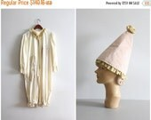 SALE / 1950s clown xs ladies or childs costume - full bodysuit with pointy hat / pale lemon cotton & barkcloth - dusty pastel / rabbit fur p