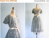 SALE / vintage 1950s graphic floral print day dress - knife pleated skirt / Dove Gray - softest cotton / 50s - garden wedding
