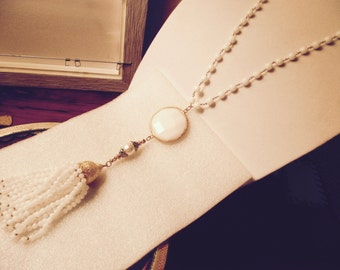 Heavenly White JADE Pendant, Genuine White Freshwater PEARL, 14K & 22K Gold Accents, 18 Strand White Jade TASSEL on White Jade Rosary Chain