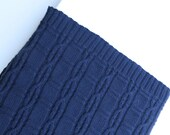 Hand Knitted Navy Blue Pure Wool Baby Rug/Blanket, with Beautiful Cable Detail