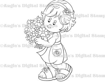 Daisy May With Flowers Digital Stamp Image