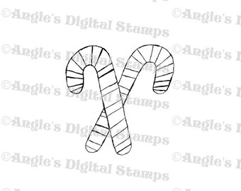 Pair Of Candy Canes Digital Stamp Image