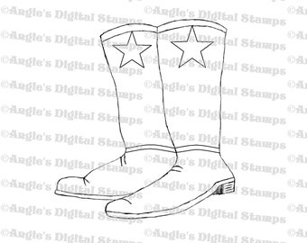Pair of Boots Digital Stamp Image