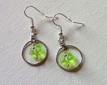 Earrings, Gift For Her, Green Earrings, Green and Silver Drop earrings, Earrings