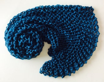 "Chunky Knit Baby Blanket, chunky baby knitted afghan, Ocean Blue, photo prop blanket, size 32"" x 32"""