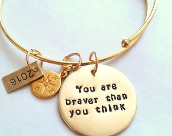 Graduation Bracelet - You are Braver Than You Think -  Inspirational Graduation  Gift - Bracelet - Gold Compass Bracelet- High School Grad