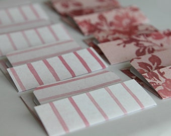 SALE- Mini Cards n Envelopes - Set of 8 - Pink Stripes with Red and Pink Floral Designs