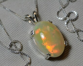 """Opal Necklace, Golden Yellow 7.12 Carat Solid Opal Pendant Appraised at 1,400.00 18"""" Necklace"""