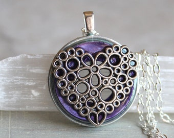 violet heart necklace, heart jewelry, womens gift, unique gift, valentines day, wife gift, romantic jewelry, love jewelry, flower necklace