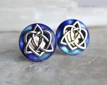 purple celtic knot cufflinks, triquetra cufflinks, celtic heart, celtic love knot, anniversary gift, celtic cufflinks, irish jewelry