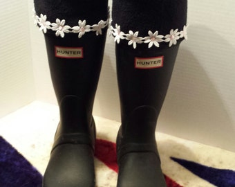 Fleece Rain Boot Liners,  Solid Black with Daisy's, Boot Sock, Wellies, Womens,Tall Boot,Rain Snow, Sm/Med or Med/Lrg