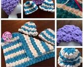 Crochet Baby Hat PATTERN.  Marshmallow Crochet Baby Hat pattern with VIDEO