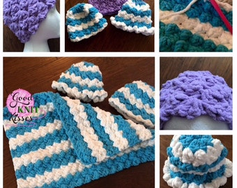 Crochet Baby Hat PATTERN.  Marshmallow Crochet Baby Hat pattern with VIDEO
