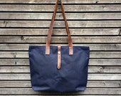 SALE  Waxed canvas tote bag - simple tote bag -  carry all with  leather handles