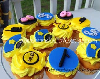 12 POLICE cupcake toppers.